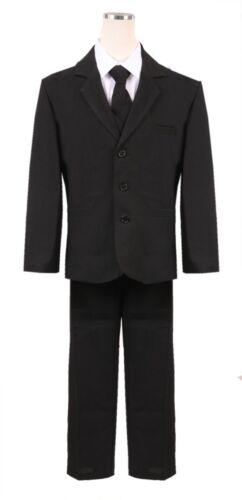 Boys HUSKY Black Formal Suit 5pc Complete set Holiday wedding fancy Christmas