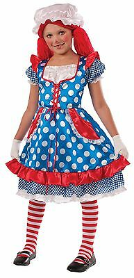 Girls Rag Doll Costume Blue White Polka Dot Fancy Dress Mob Hat Kids Child NEW - Rag Doll Costume Kids