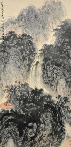 Vintage Chinese Watercolo Landscape Wall Hanging Scroll Painting - Fu Baoshi