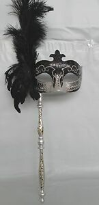 Masquerade Mask On Stick - Black and Silver with Feathers