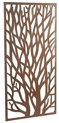 Wonderful large rectangular rustic Core-Ten Steel Garden Tree wall plaque art