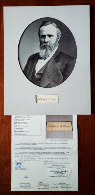 Rutherford B Hayes JSA Loa Hand Signed 11x14 Matted Cut With Photo Autograph