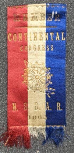 Vintage 1905 National Society Daughters American Revolution Member Ribbon DAR