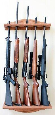 Wood Gun Rack - Vertical Wall Mount 5-Gun Rack Red Oak ()