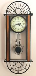 Howard Miller Decorative Wrought Iron & Wood Wall Clock w Swinging Pendulum