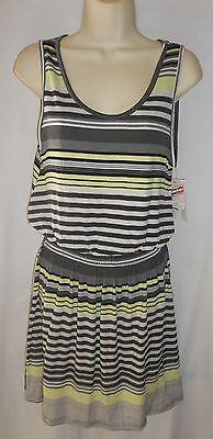 Everlast gray/green stripe pullover elastic waist Tank dress Medium NWT