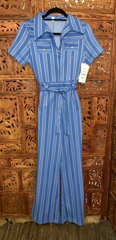 Vintage Jumpsuit Disco Romper Women 1970s Bell Bottom Blue Short Sleeve Sz 9 NWT