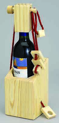 Bits and Pieces - Wine Bottle Brainteaser - Wooden Puzzle Box for The Wine Lover Bottle Wooden Wine Puzzle