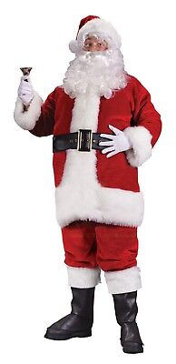 Santa Claus Suit 7Pc Plush Faux Fur Fabric Coat Pant Hat Boot Tops Belt Gloves   - Santa Claus Coat