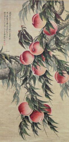 Superb Chinese Watercolor PEACH TREE Hanging Scroll Painting - Zhang Daqian