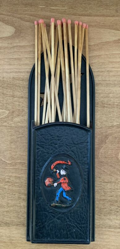 Vintage Cast Iron Fireplace Match Holder Fire Mark Insurance Emig 1344B