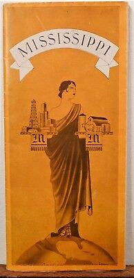 1933 Mississippi vintage travel brochure illustrated state map b
