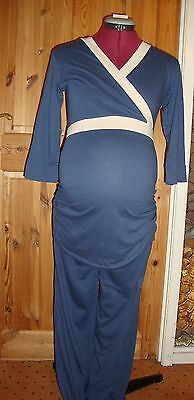 BNWT MATERNITY Blue/Cream Mock Wrap For Easy Feeding Pyjamas Size XL - 16-18