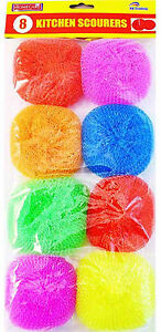 8 x PLASTIC SCOURERS COLOURED GOOD FOR NON STICK PANS WASH CLEANING SCRUBBING