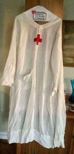 ANTIQUE WW1 Red Cross Nursing Uniform Surgical Gown Linen