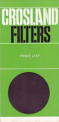 Crossland Filters Price List  Issue 13 1960s 1970s Classic Car