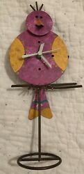 Oxidos Handmade Pink Bird On Perch Clock with Swinging Pendulum Tail Metal EUC