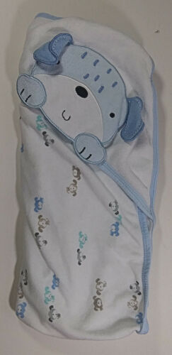 Wonder Nation Baby Hooded Towel Multicolor Boy Dog Puppy Cotton Blend Blue