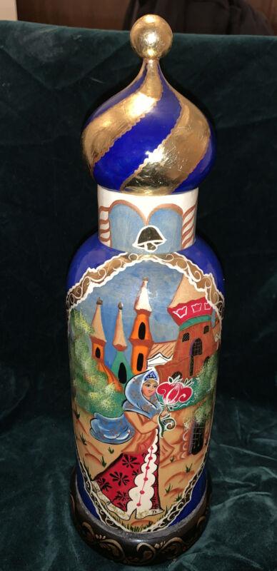 """OOAK VINTAGE UNIQUE RUSSIAN NESTING DOLL Vodka Bottle Holder Wooden Signed 15"""""""