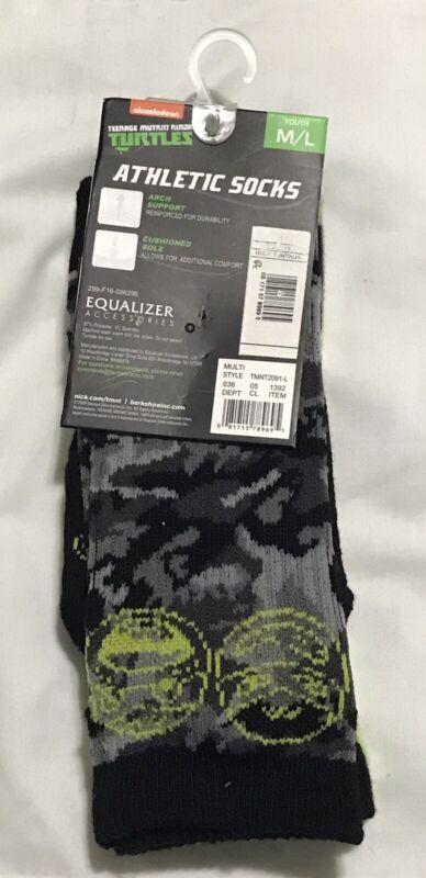 New Teenage Mutant Ninja Turtles 2 Pair Athletic Socks Youth Medium Large TMNT