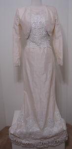 Vintage-Demetrios-3pc-100-Silk-Cream-Bead-Wedding-Gown-Jacket-Bustle-Train-NWT