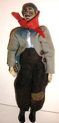 Rare Antique Swiss Bucherer Jointed Metal Character Doll Hobo circa 1920`s