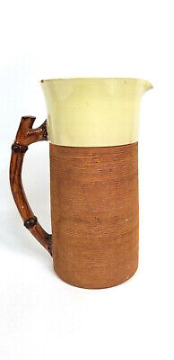 Vintage Brown And White Pitcher Ribbed Rings Branch Handle Porcelain covid 19 (Ring White Pitcher coronavirus)