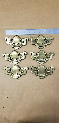 Lot (6) VTG Antique Brass Finish Dresser Drawer Pulls Chippendale B-512 3.5