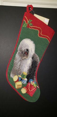 OLD ENGLISH SHEEPDOG Handmade Finished Needlepoint Christmas Dog Stocking NWT