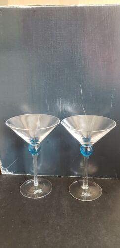 (2) Bombay Sapphire Gin Martini Glass Blue Ball Stem