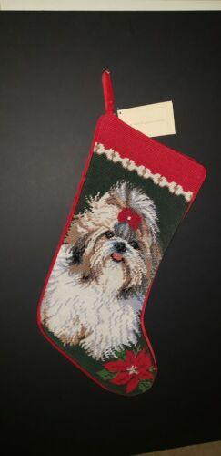 SHIH TZU with Bow  Handmade Finished Needlepoint Christmas Stocking NWT