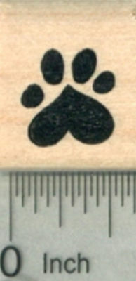 Small Heart Paw Print Rubber Stamp, Dog, Cat Valentine Series .5 inch A29617 - Paw Print Stamp