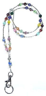 SUPER Slim Multi Fashion Women's Beaded Lanyard breakaway magnetic clasp 34 inch - Jewelry Lanyards