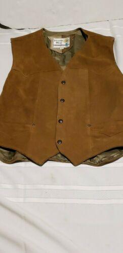 VTG Pioneer Wear  Western cowboy Suede Leather Vest Linebacker Button Medium 42