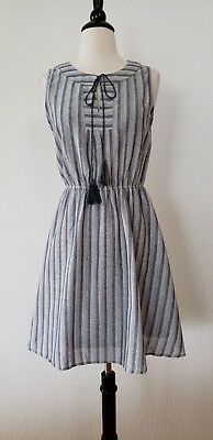 Anthropologie Dress Skater Stripe New Size Large Classy Vacation Boho Grey Blue - Classy Holiday Dresses