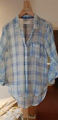Abercrombie & Fitch Blue White Check Lumberjack Chiffon Blouse Shirt Small 8 10