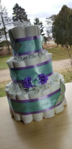 3 Tier Diaper Cake - Butterfly and Flower Diaper Cake - Spring Diaper Cake