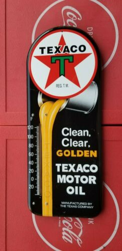 VINTAGE Texaco Motor Oil Clean Clear GoldenThermometer Sign