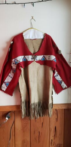 Authentic Plains Indian Buckskin & Red Wool Beaded Shirt