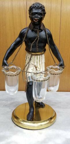 "14"" Vintage Petite Choses Blackamoor Nubian Figural Statue w/Glass Ruffled Vases"