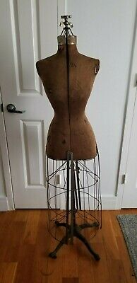 Antique Mannequin Vintage Dress Form Victorian Adjustable Cast Iron Base 1908
