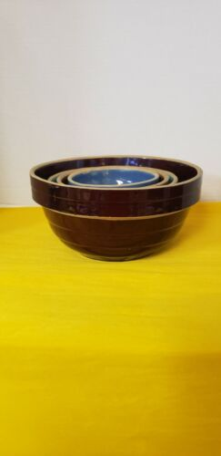 Vintage Set of 4 Stoneware Nesting Bowls Made in USA 9,7,6,5 Inch Brown Blue Grn