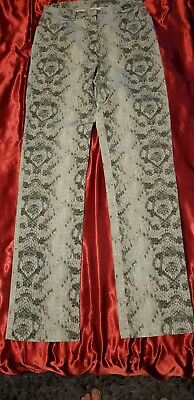 Genuine Vintage Versace Couture jeans Womens  28 size 10 grey snake skin