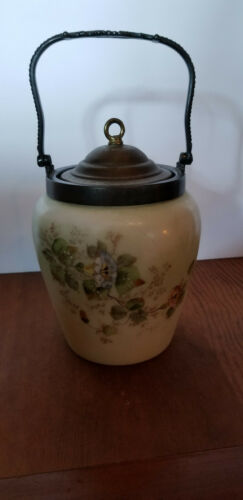 Antique Victorian Satin Glass Hand Painted Morning Glory Biscuit Jar