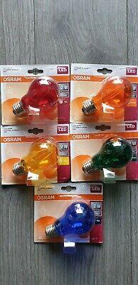 Osram LED lampe Filament E 27 5x farbe 2W.=15W. Blau Rot Gelb Grun Orange BUNT