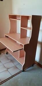 Computer desk - oak timber veneer multi level NEAR NEW