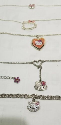 HELLO KITTY JEWELRY Three Necklaces & Bracelet RHINESTONES Locket SILVER TONE D2