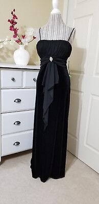 NWT Masquerade Black Stretch Velvet Jewel Decor Formal Long Dress Sz.9/10 (Special Occasion Decorations)