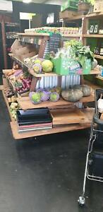 Rustic Timber Fruit & Veg Shop Display Shelving