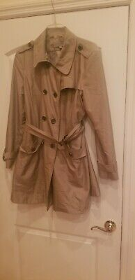 ANNE KLEIN TRENCH COAT JACKET BELTED THREE QUARTERS WOMEN EXTRA LARGE KHAKI TAN